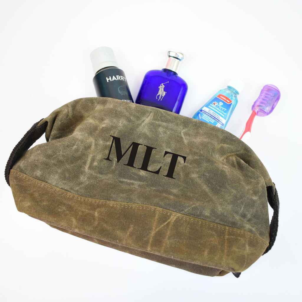 personalized waxed cotton dopp kit - men's toiletry case