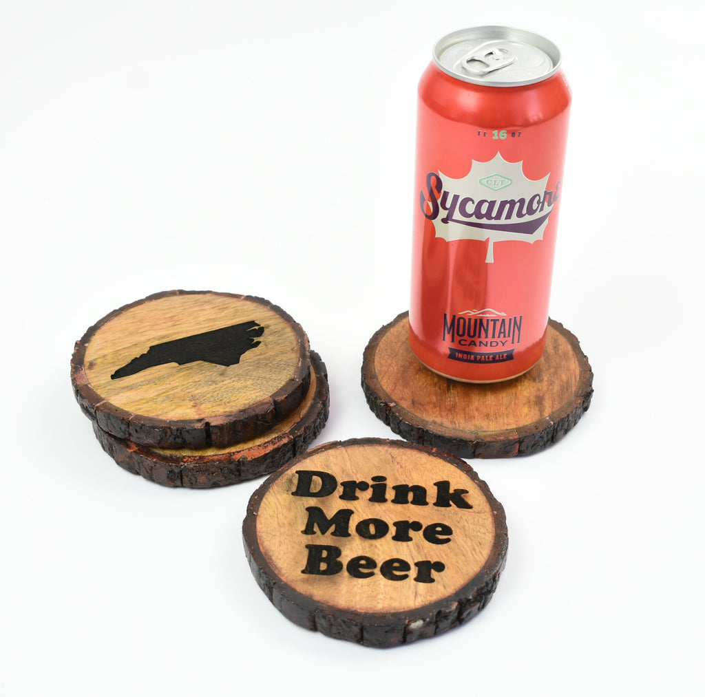 raw edge wood coasters - engraved wood coaster
