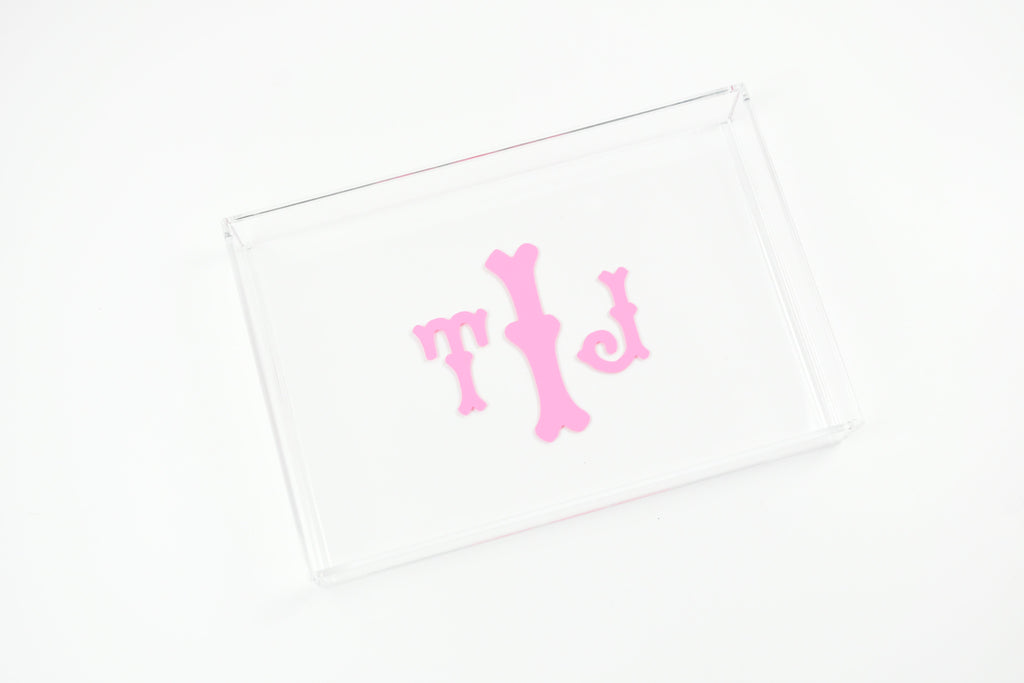 personalized acrylic trinket tray - dresser organization