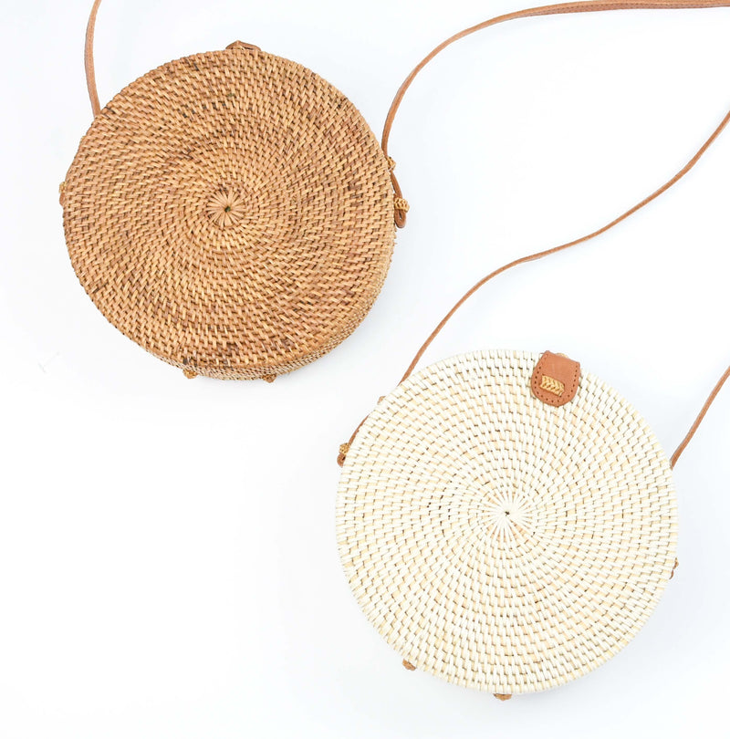 handwoven rattan bag - round straw purse