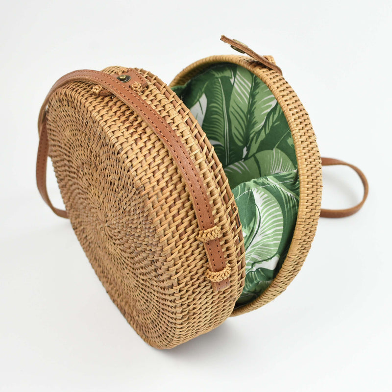 palm leaf rattan bag - summer straw clutch