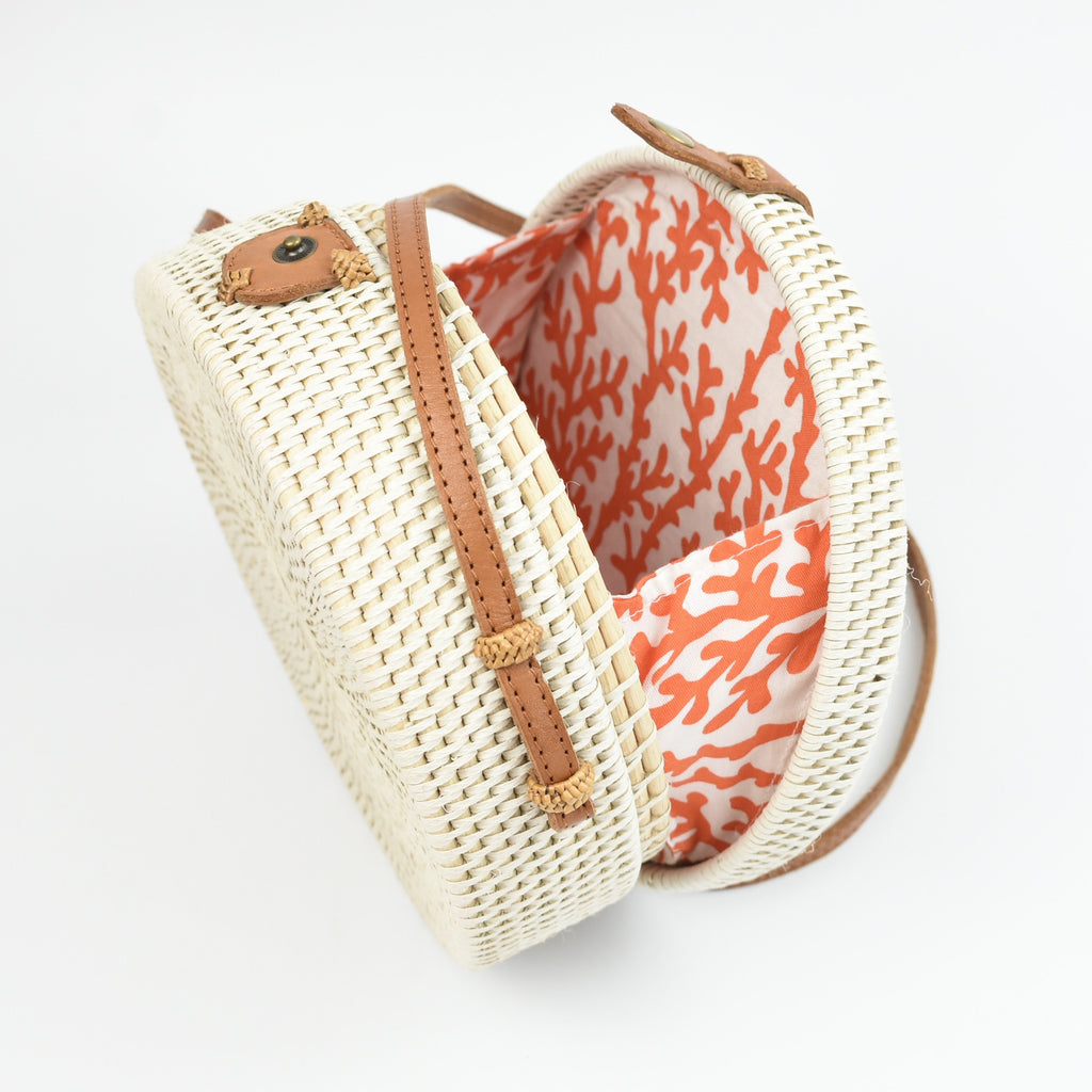 white rattan bag - fabric lined straw crossbody