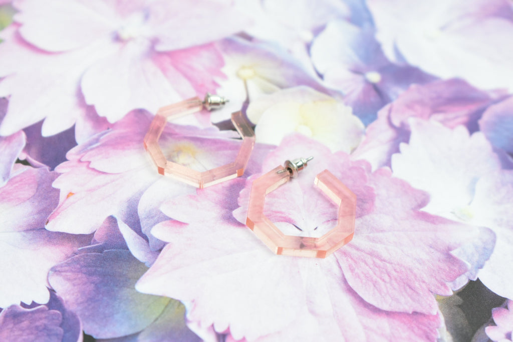 mini huggie earrings - clear rose gold hoops