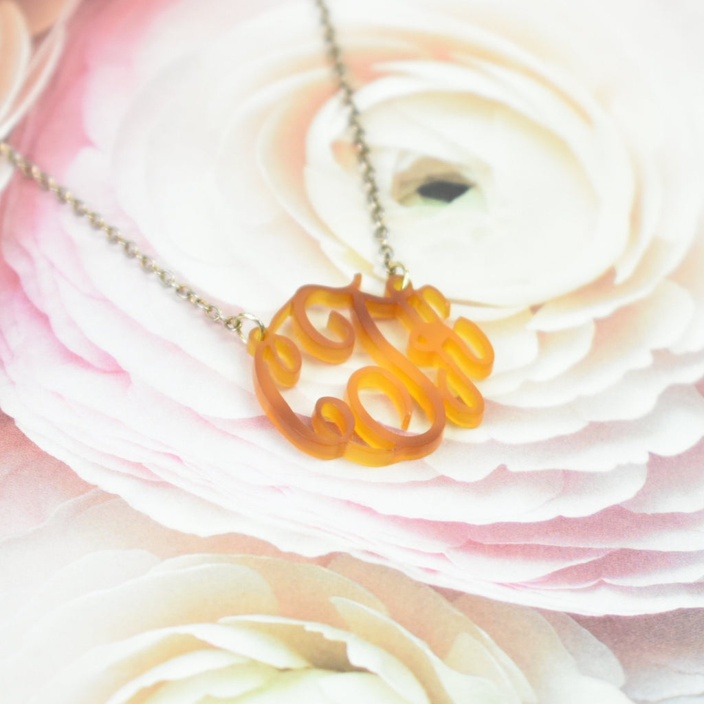 tortoise shell monogram necklace - custom initial necklace