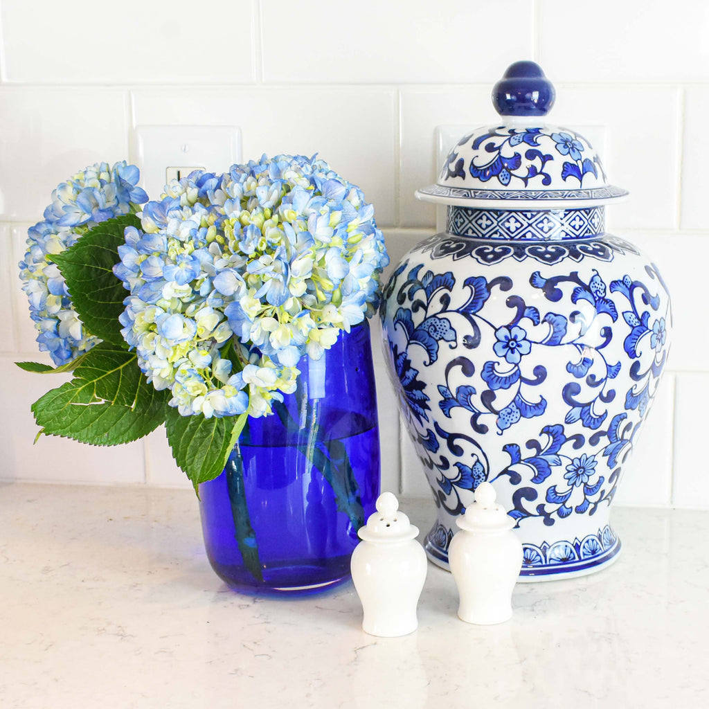 large ginger jar - blue & white decor