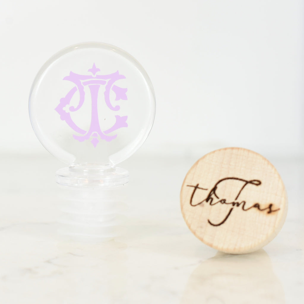 acrylic wine topper - monogram bottle stopper