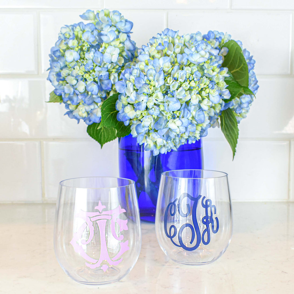 plastic monogram glasses - reusable personalized wine glass