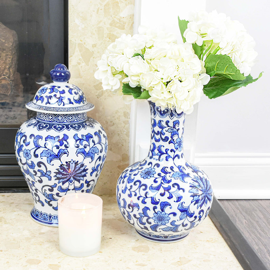 chinoiserie home decor - blue and white pot