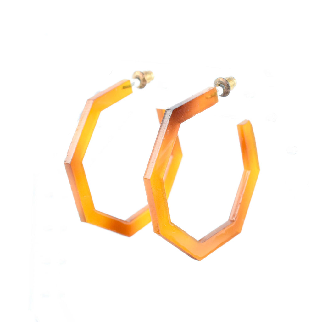 Acetate Earrings - hexagon tortoise shell hoops
