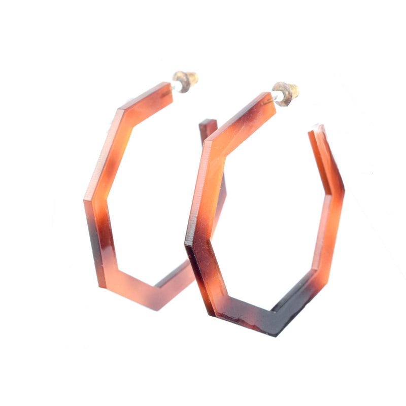 octagon hoops - tortoise shell hoop earrings