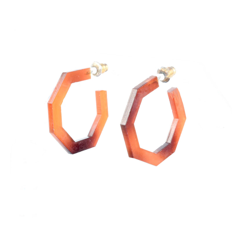 mini huggie earrings - tortoise shell hoops