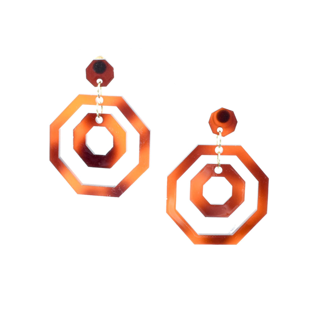 TORTOISE SHELL OCTAGON TATE EARRINGS - statement earrings