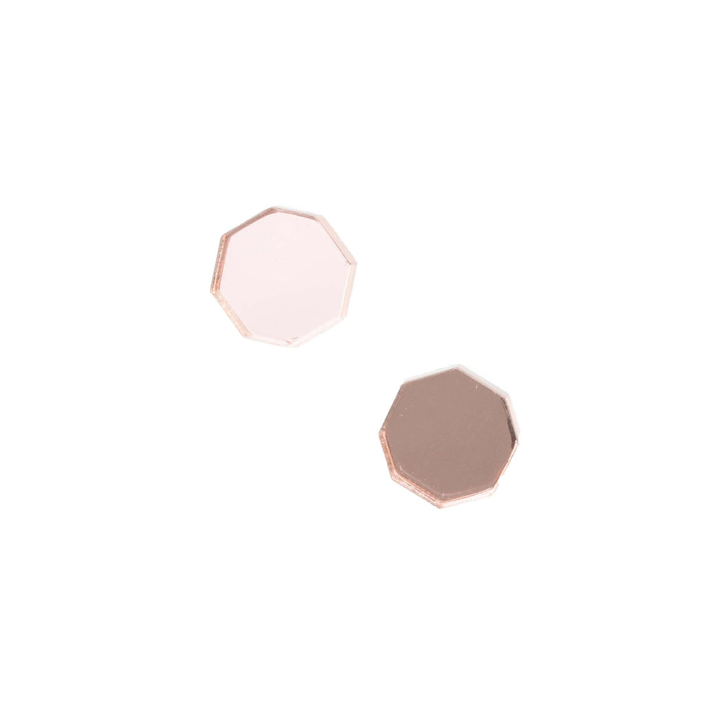 rose gold studs - hexagon mirror stud earrings
