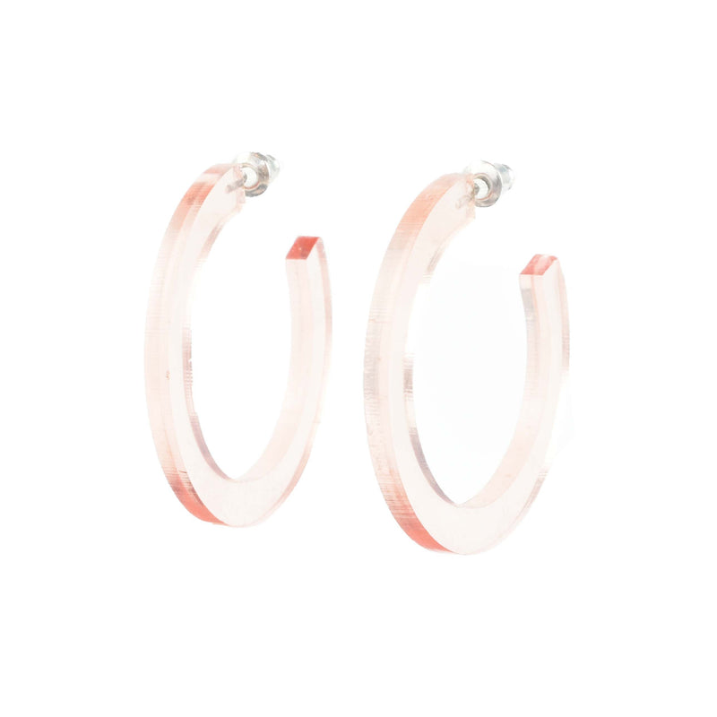 clear rose gold hoops - lightweight hoop earrings