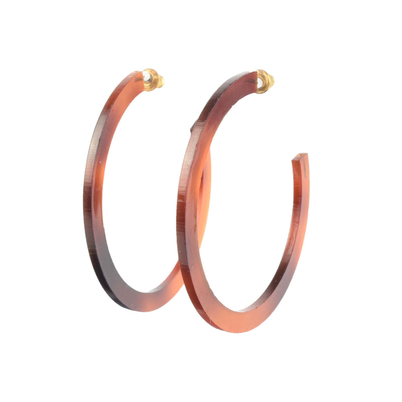 tortoise shell acrylic hoops - light weight hoop earrings