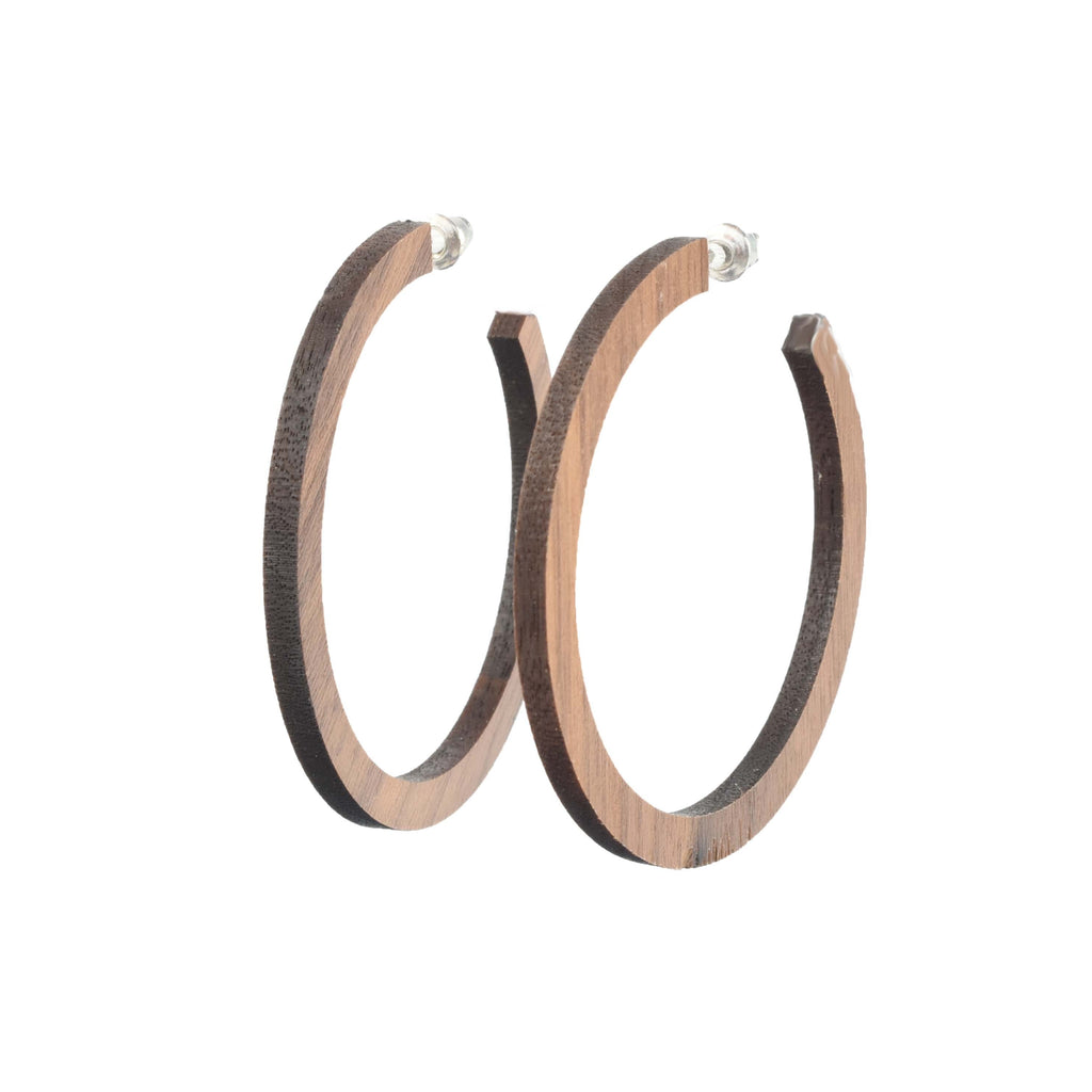 wooden hoop earrings - wood jewelry