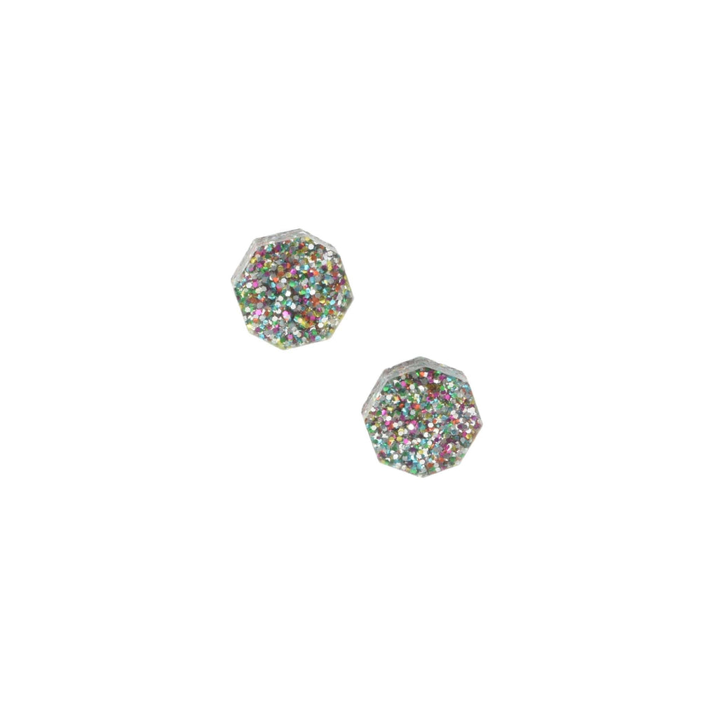 confetti glitter studs - hexagon stud earrings