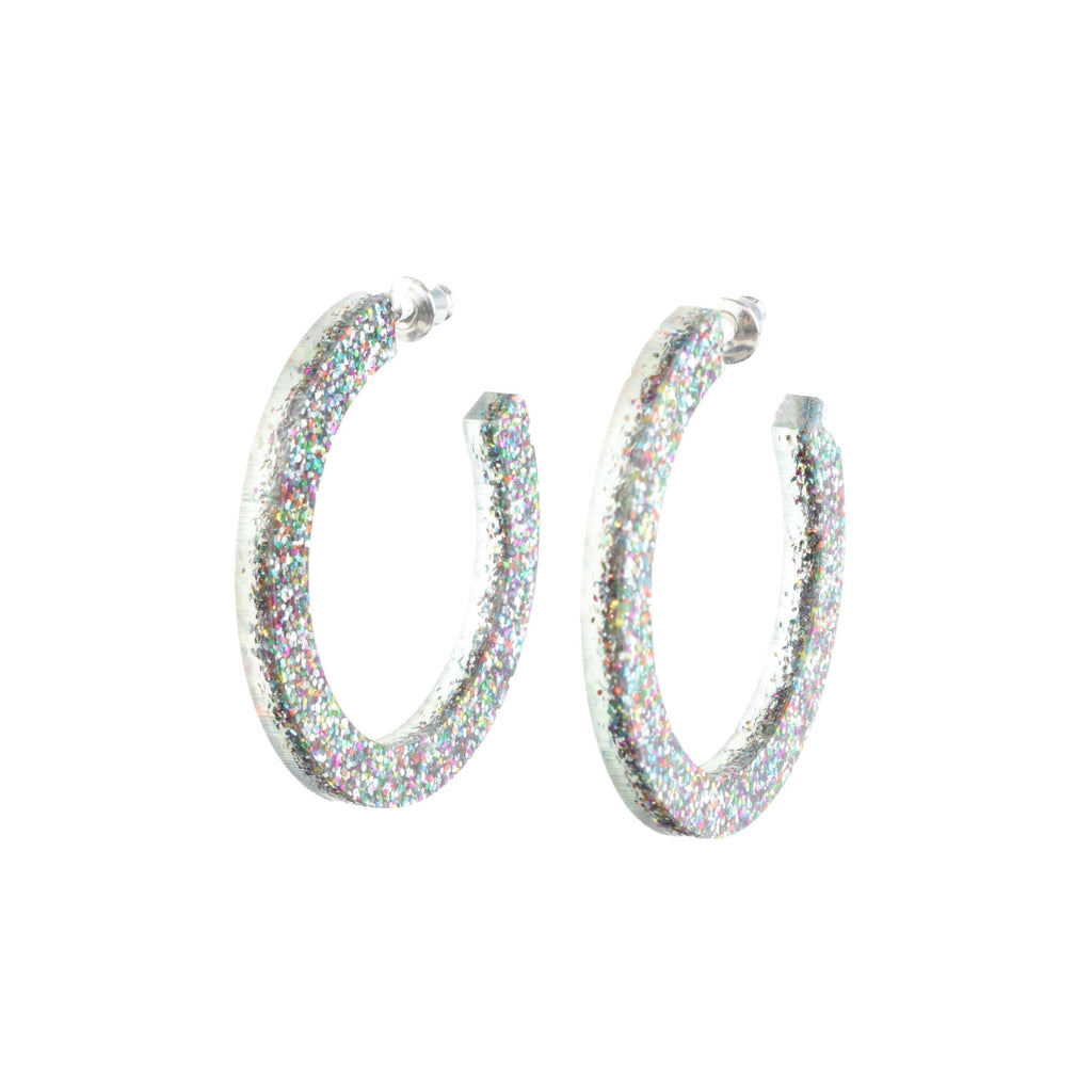 lightweight party hoops - glittery jewelry
