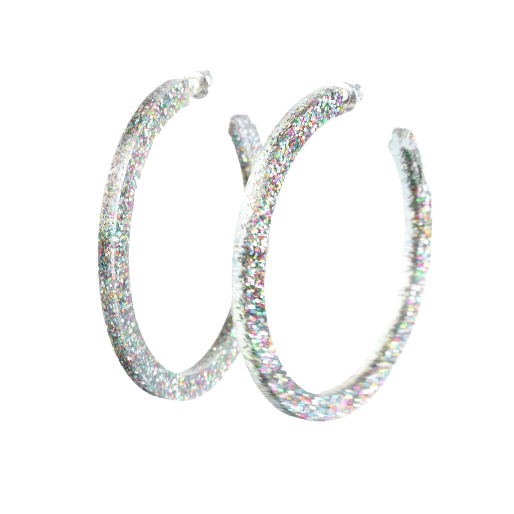 confetti hoops - glitter hoop earrings