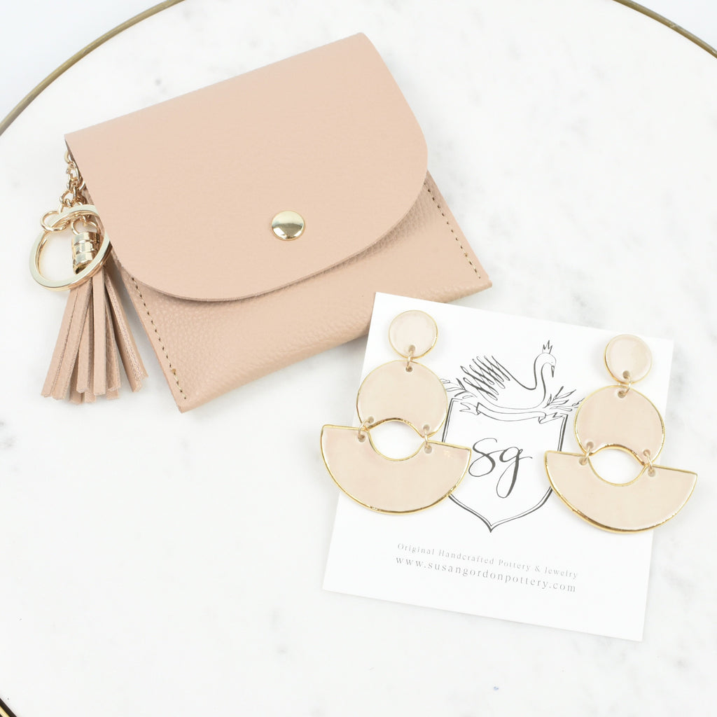 pale pink ceramic earrings - unique statement earrings