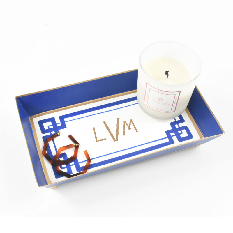 monogram guest towel tray - chinoiserie home decor