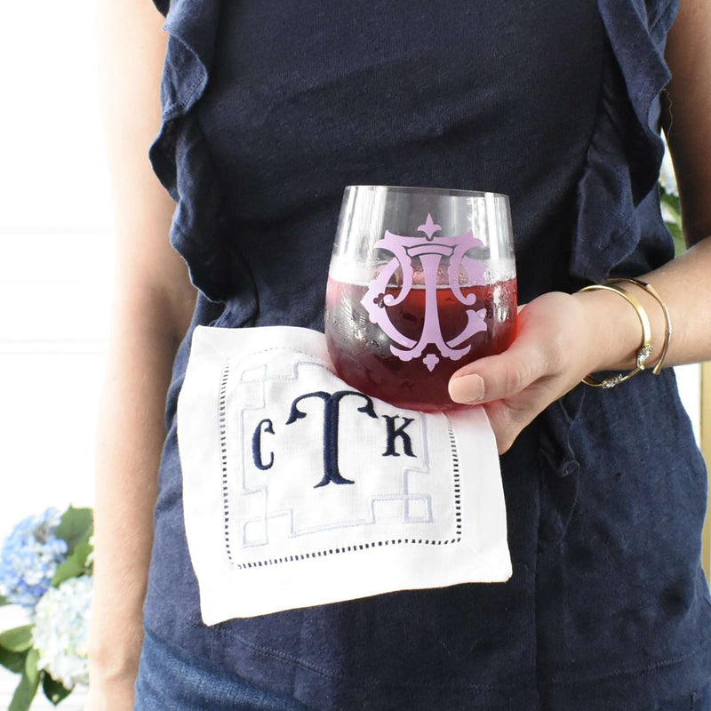 greek key monogram cocktail napkin - custom drink napkins