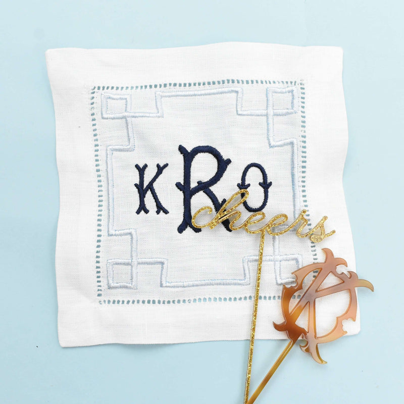 monogram cocktail napkin - personalized drink napkins