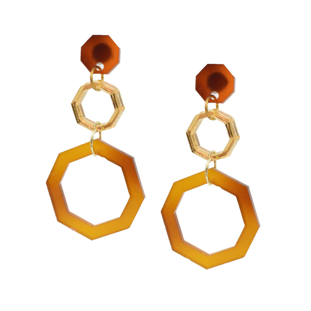 gold and tortoise shell earrings - light statement earrings