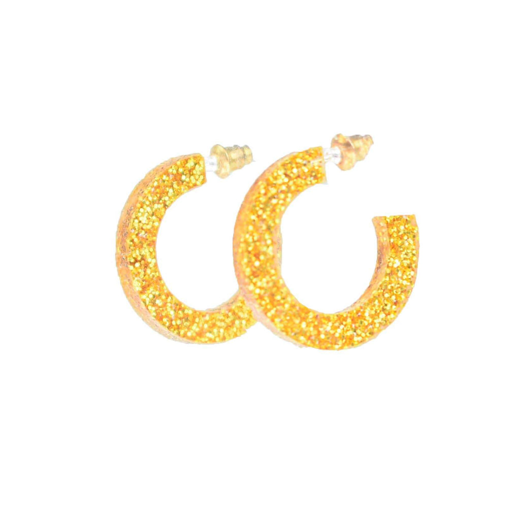gold glitter hoops - lightweight gold hoop earrings