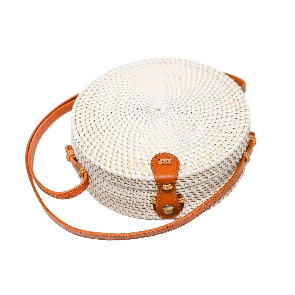 white rattan bag - round straw clutch
