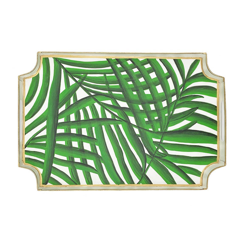 palm leaf tray - hand painted serving tray