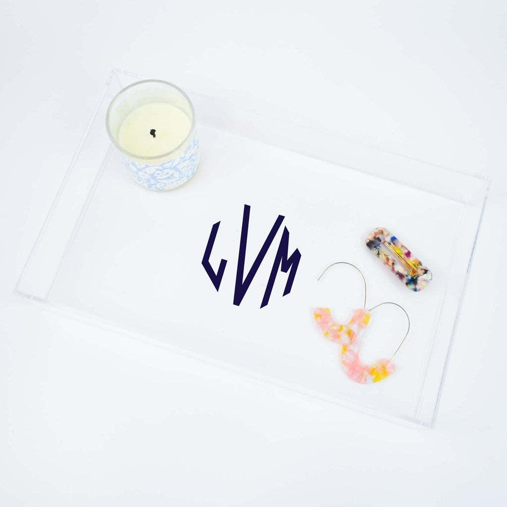 monogram acrylic tray | personalized jewelry storage