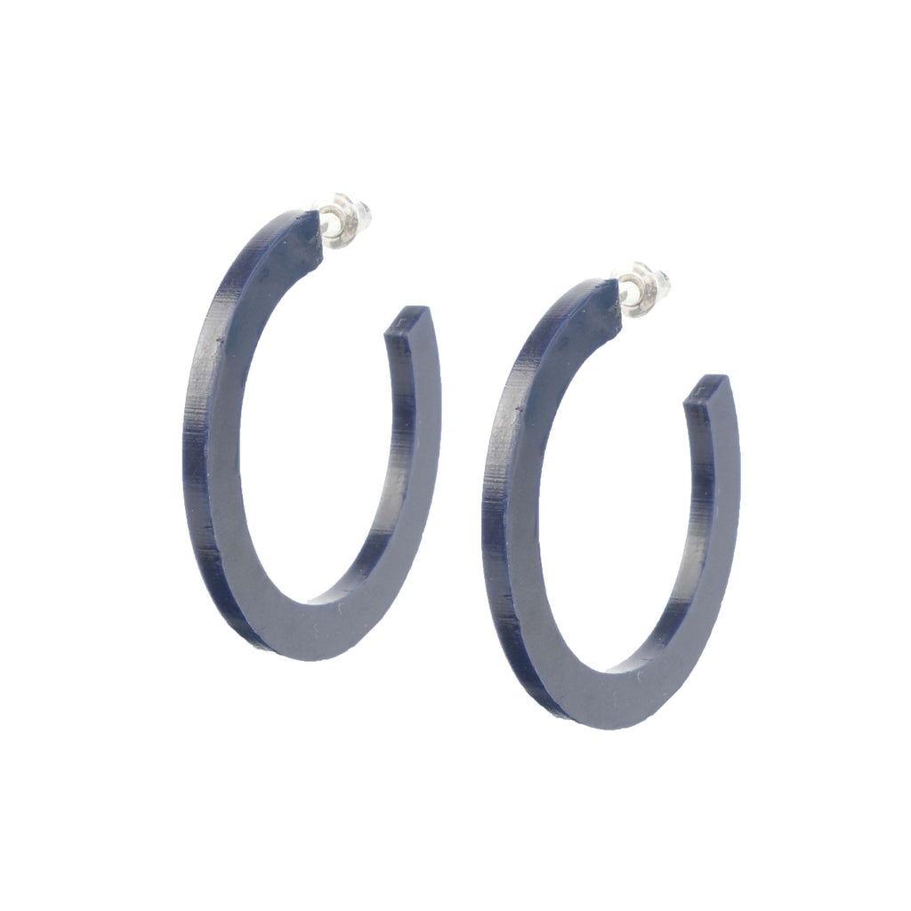 navy lightweight hoops - dark blue hoop earrings