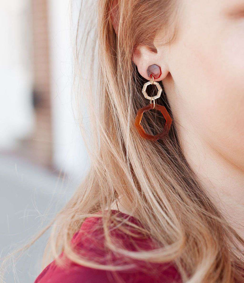 tortoise shell and gold earrings - lightweight statement earrings