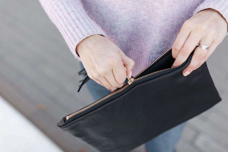 black leather clutch - soft leather zip bag