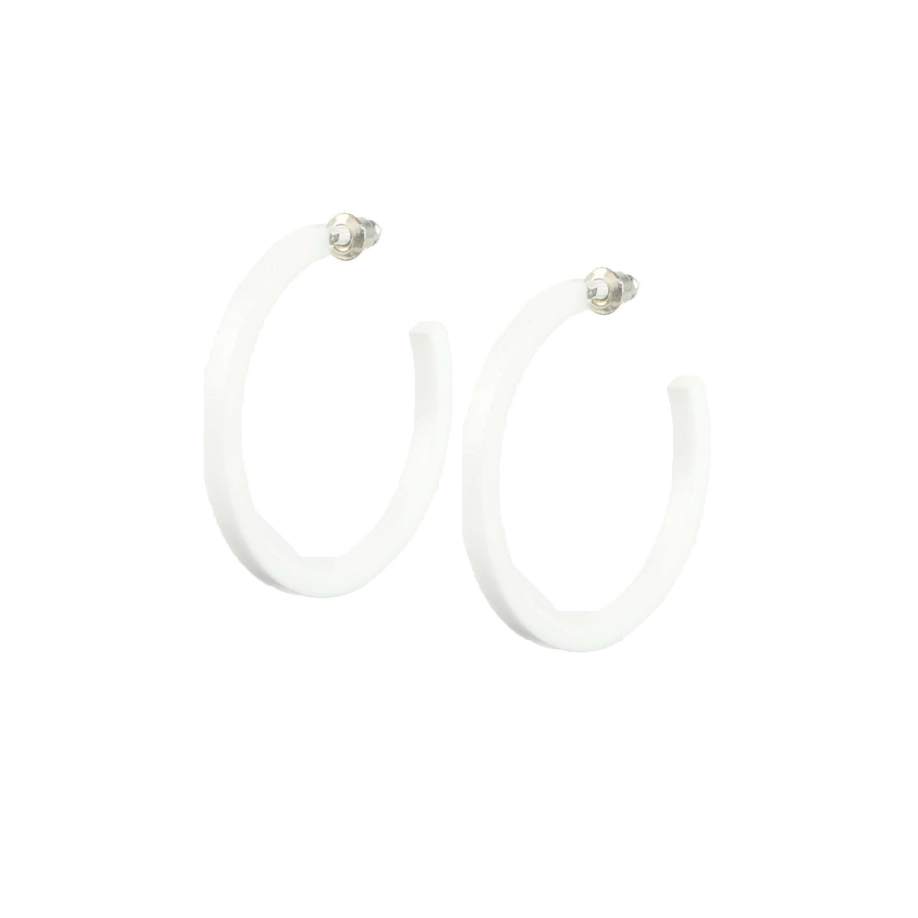 ultra lightweight hoop earrings - mod white hoops