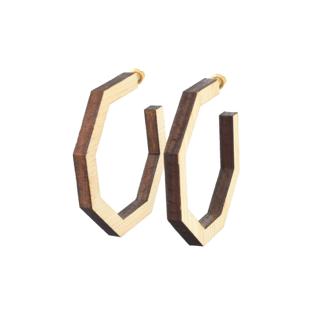 wood octagon hoops - handmade wood earrings
