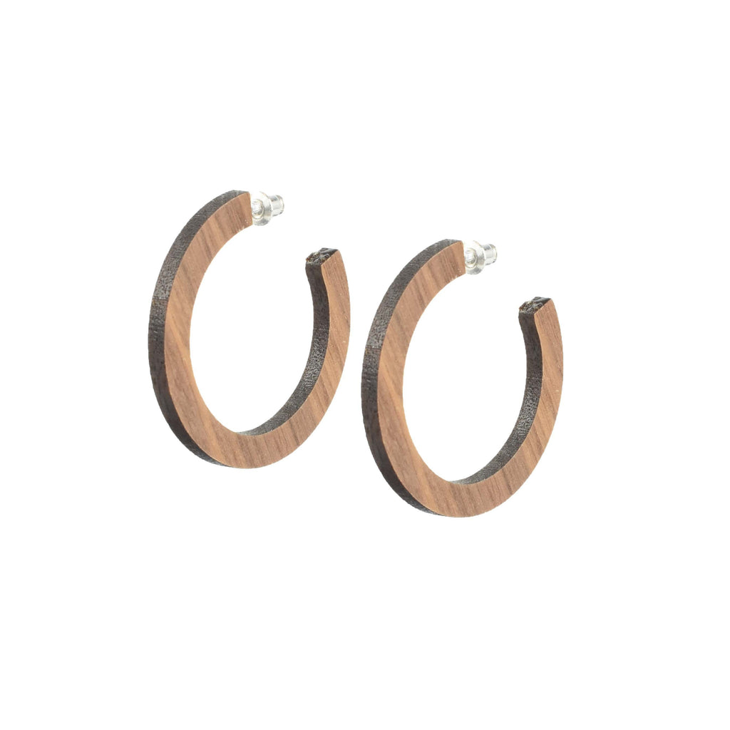 lightweight wood hoops - handmade earrings