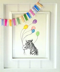 Nursery Art: Rainbow Zebra