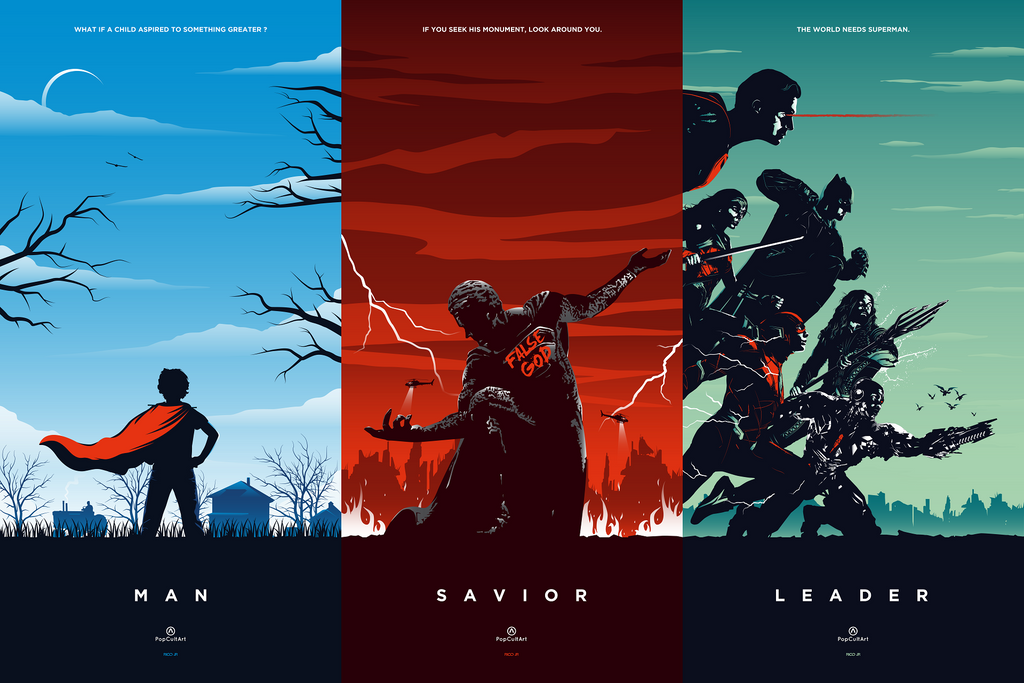 Superman Triptych (Variant) by Rico Jr. | PopCultArt