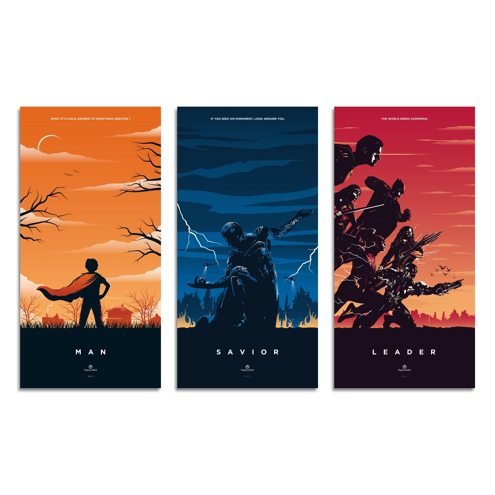Superman Triptych (Original) by Rico Jr. | Giclee |  PopCultArt