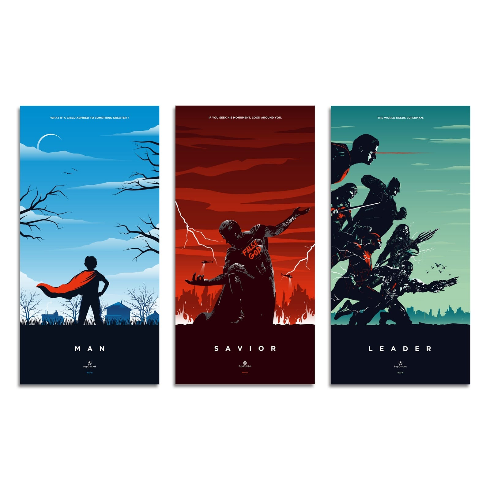 Superman Triptych (Variant) by Rico Jr. | Giclee |  PopCultArt