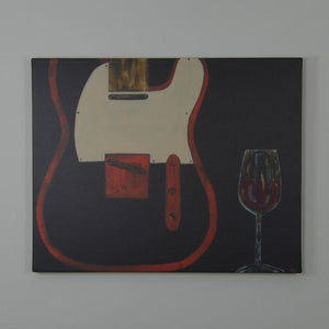 """Telecaster Guitar with Wine"" Canvas Print 14x11"