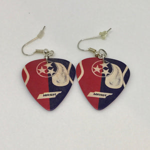 """Tennessee Tristar Guitar Pick"" Earrings for pierced ears"