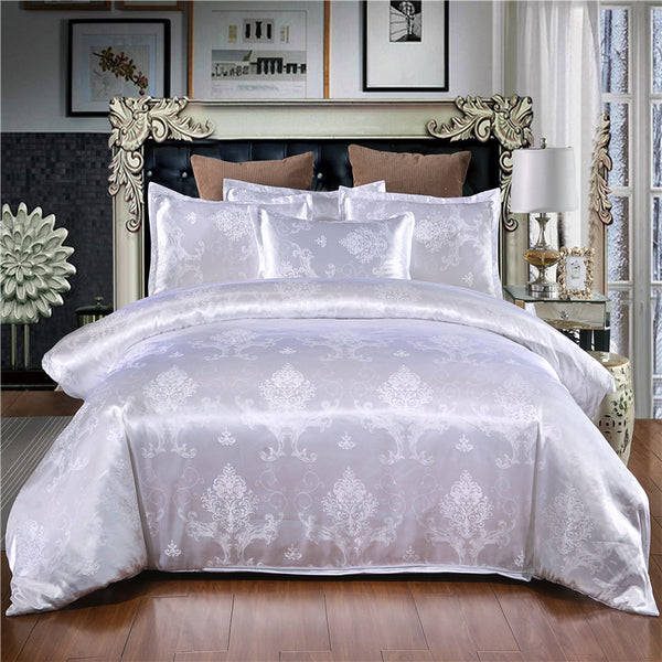 Luxurious 3 Piece Ivory Queen Duvet Cover Jacquard Design Bedroom Bedding Set - My Bedding Obsession
