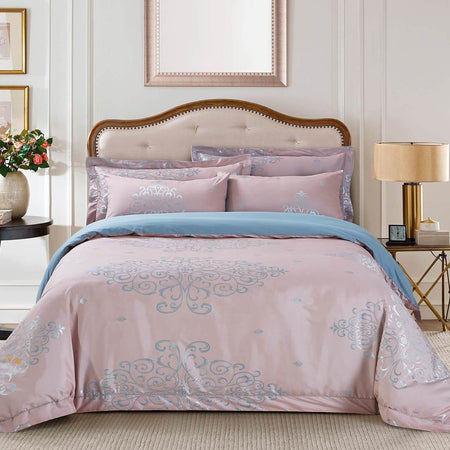 Dolce Mela Las Vegas Sateen Cotton Luxury King Duvet Cover Reversible Design Bedroom Bedding Set