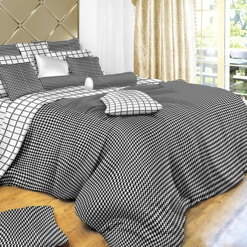 Dolce Mela B & W 100% Cotton Luxury Queen & King Duvet Cover Reversible Design Bedroom Bedding Sets - My Bedding Obsession