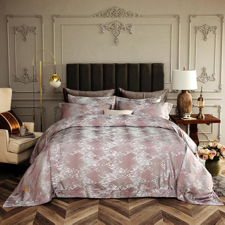 Dolce Mela Pink 100% Cotton Luxury Queen & King Duvet Cover Reversible Design Bedroom Bedding Sets