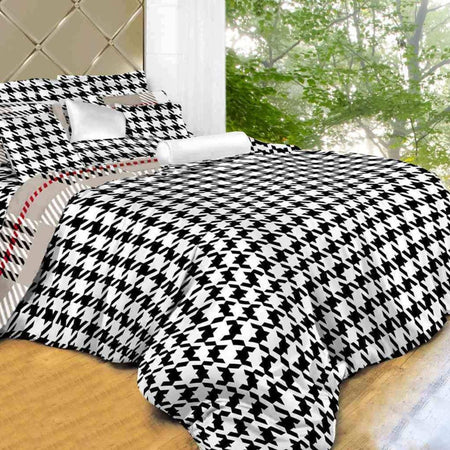 Dolce Mela B & W 100% Cotton Luxury Queen & King Duvet Cover Reversible Design Bedroom Bedding Sets