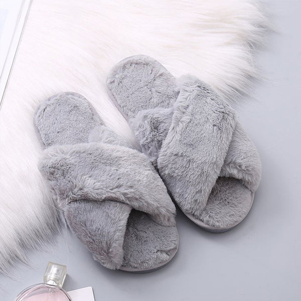 Women's Warm Soft Plush Furry Criss Cross Faux Fur Open Toed Home House Bedroom Slippers Slides - My Bedding Obsession